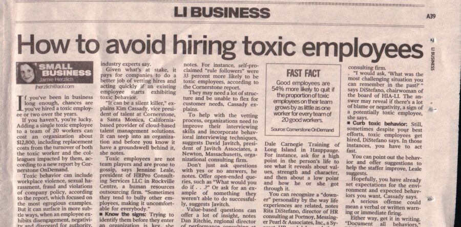 How to avoid employing Toxic Employees